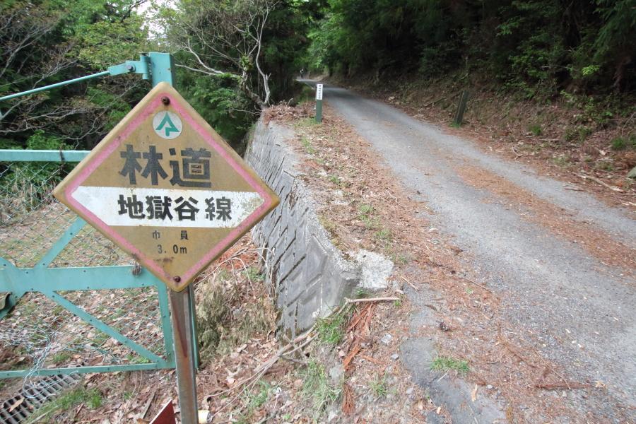 林道地獄谷線の標識