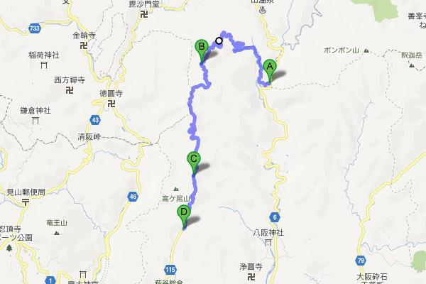 地獄谷峠の周辺地図
