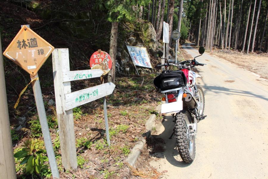 林道八丁線の入口、カモノセキャビン前