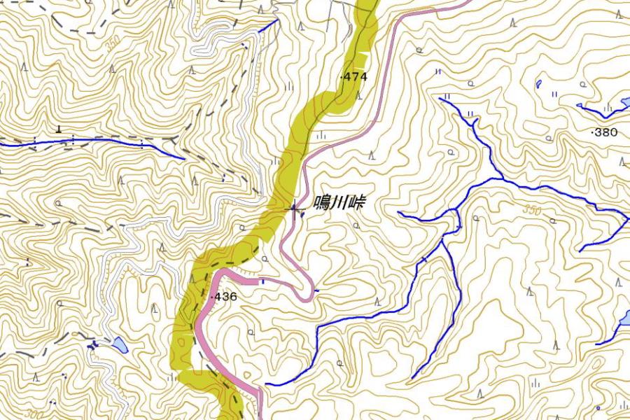 鳴川峠の地図