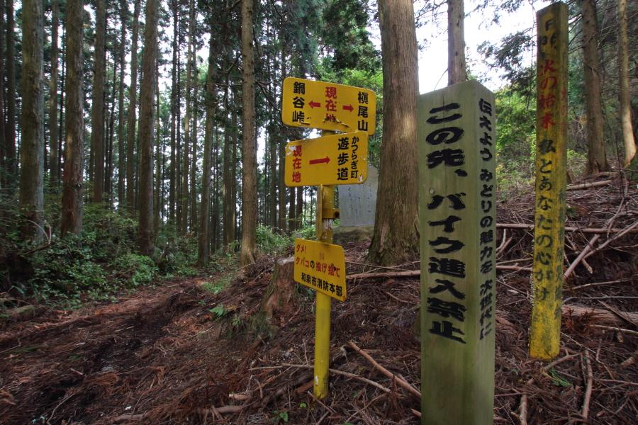 七越峠のバイク進入禁止の木柱