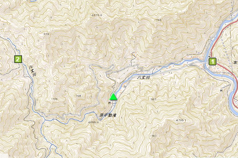 原不動滝公園キャンプ場の周辺地図