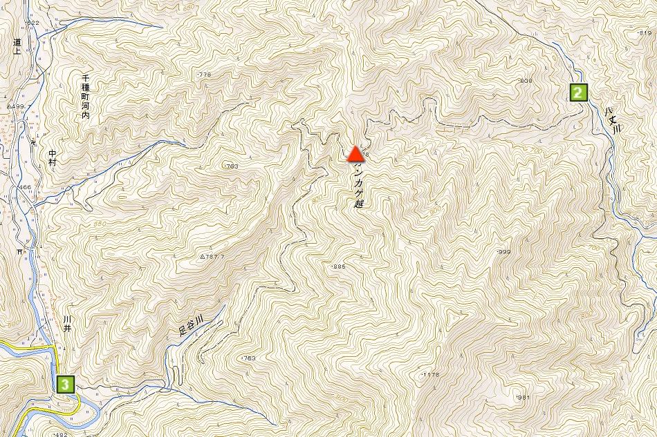 カンカケ越の周辺地図
