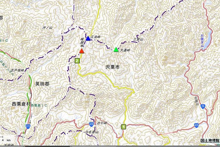 峰越峠の地図