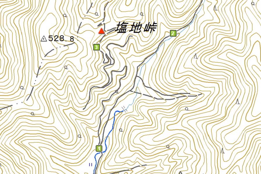 塩地峠の周辺地図