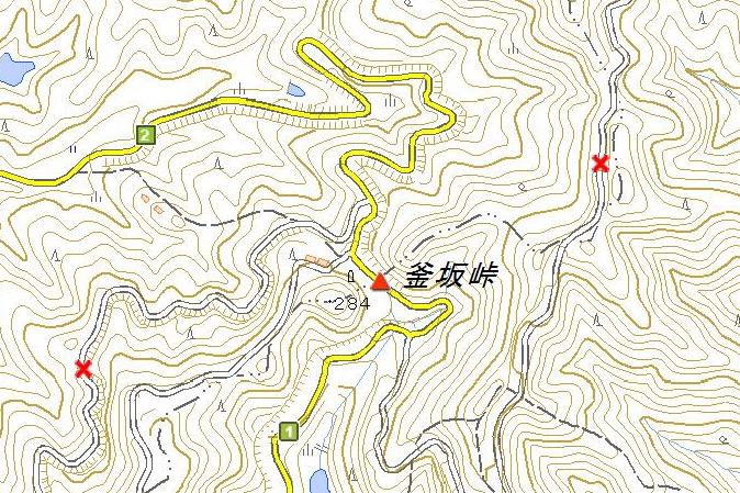 釜坂峠の地図