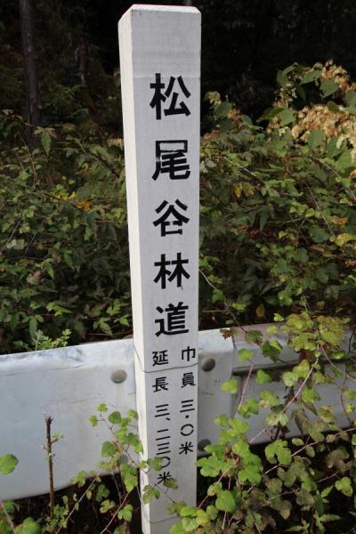 松尾谷林道の木標